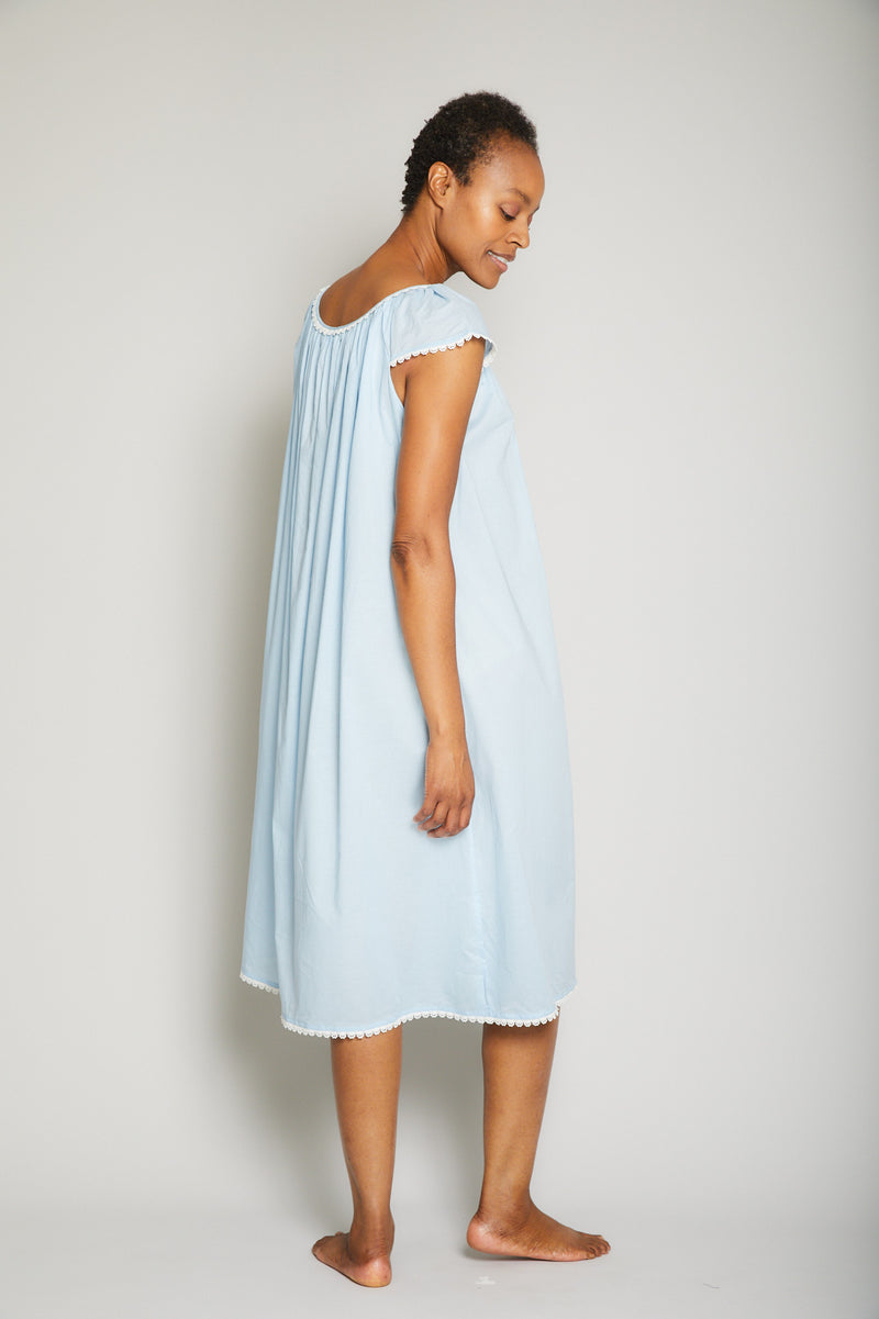 Long Cotton Nightgown with Flower Trim