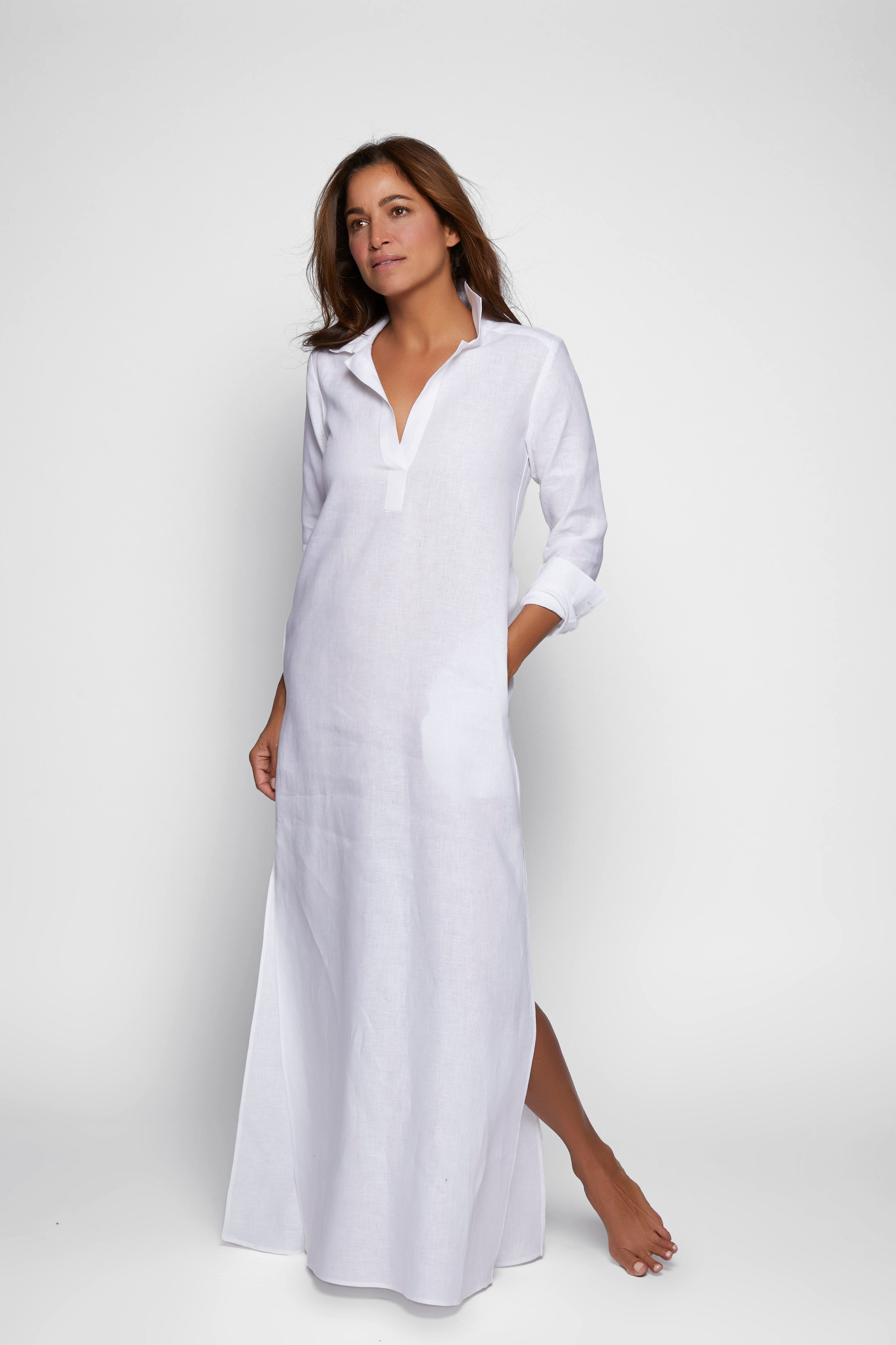Long Linen Shirt Dress