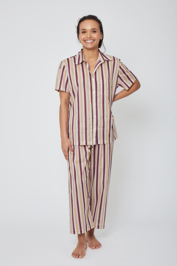 Short Sleeve Stripe Pajama Set with Cropped Pants
