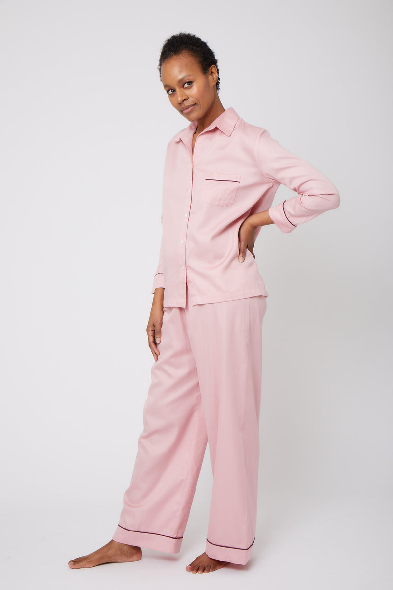 Cotton Sateen Pajama Set with Contrast Piping