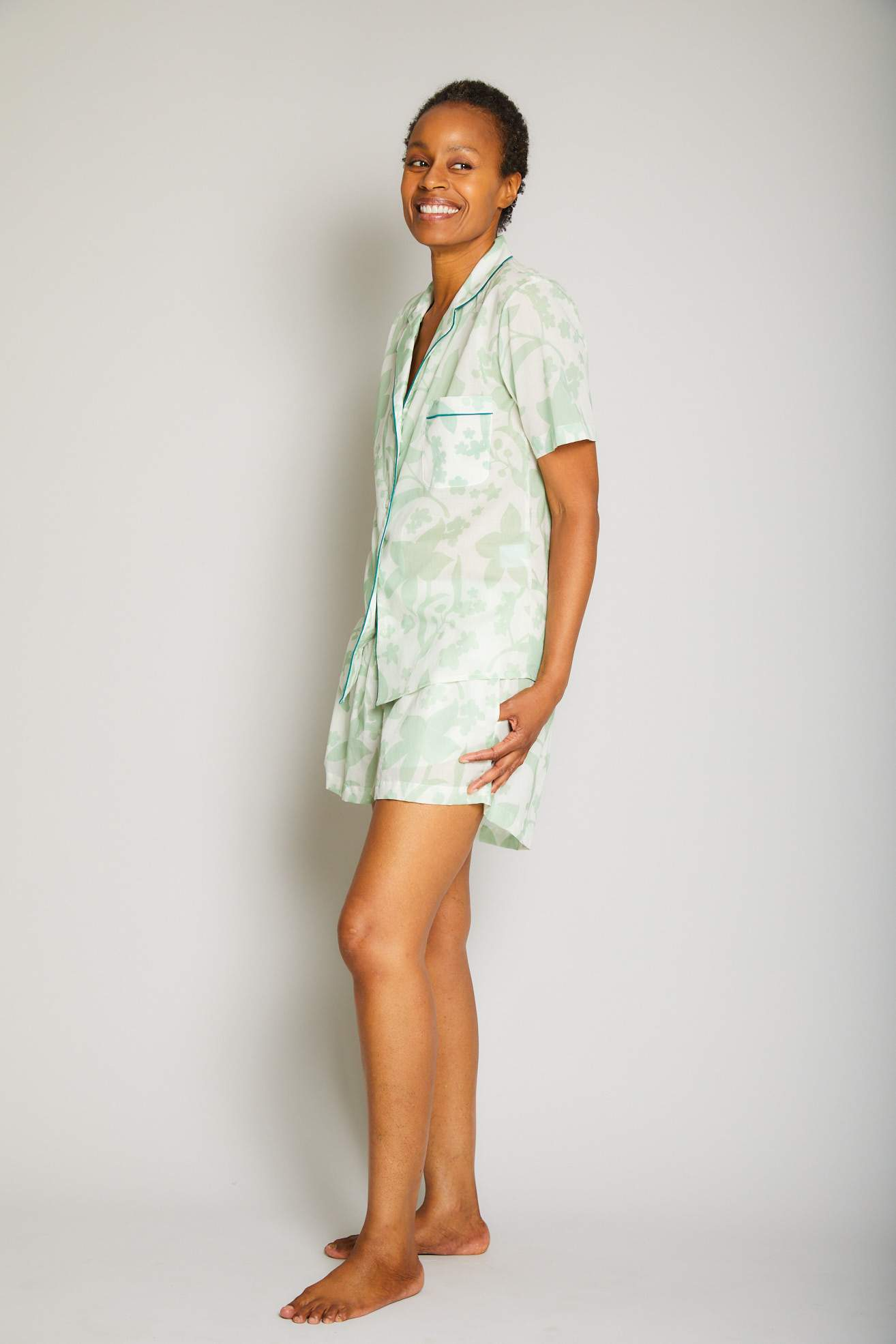 Hawaiian Short Sleeve Short PJ Set with Piping