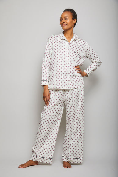 Cotton Sateen Snowflake PJ Set with Piping