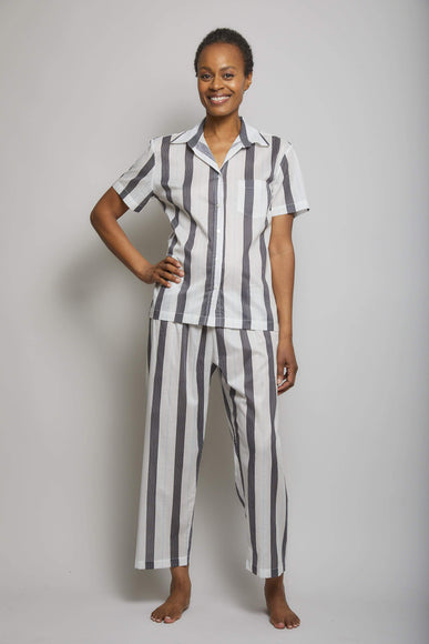 Striped Short Sleeve Crop Pant PJ Set