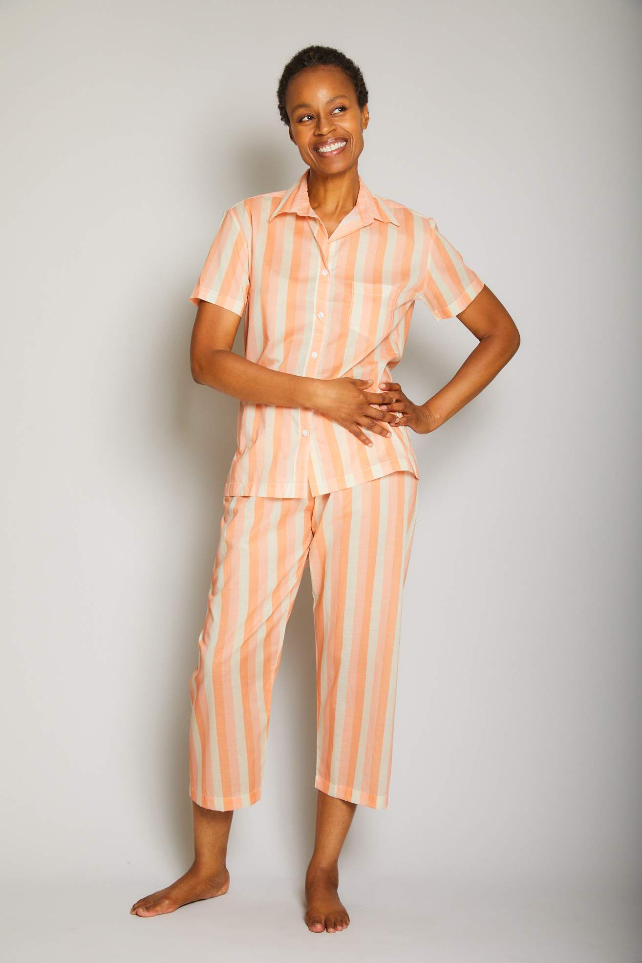 Striped Short Sleeve Cropped Pant PJ Set