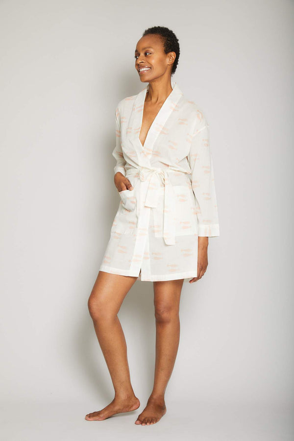 Short Cotton Fish Print Robe