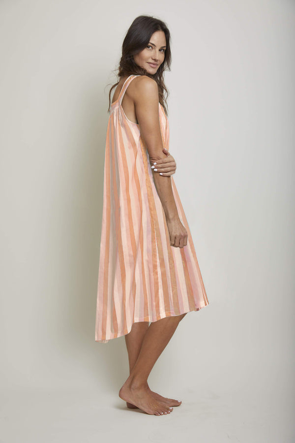 Long Striped Square Neck Nightie