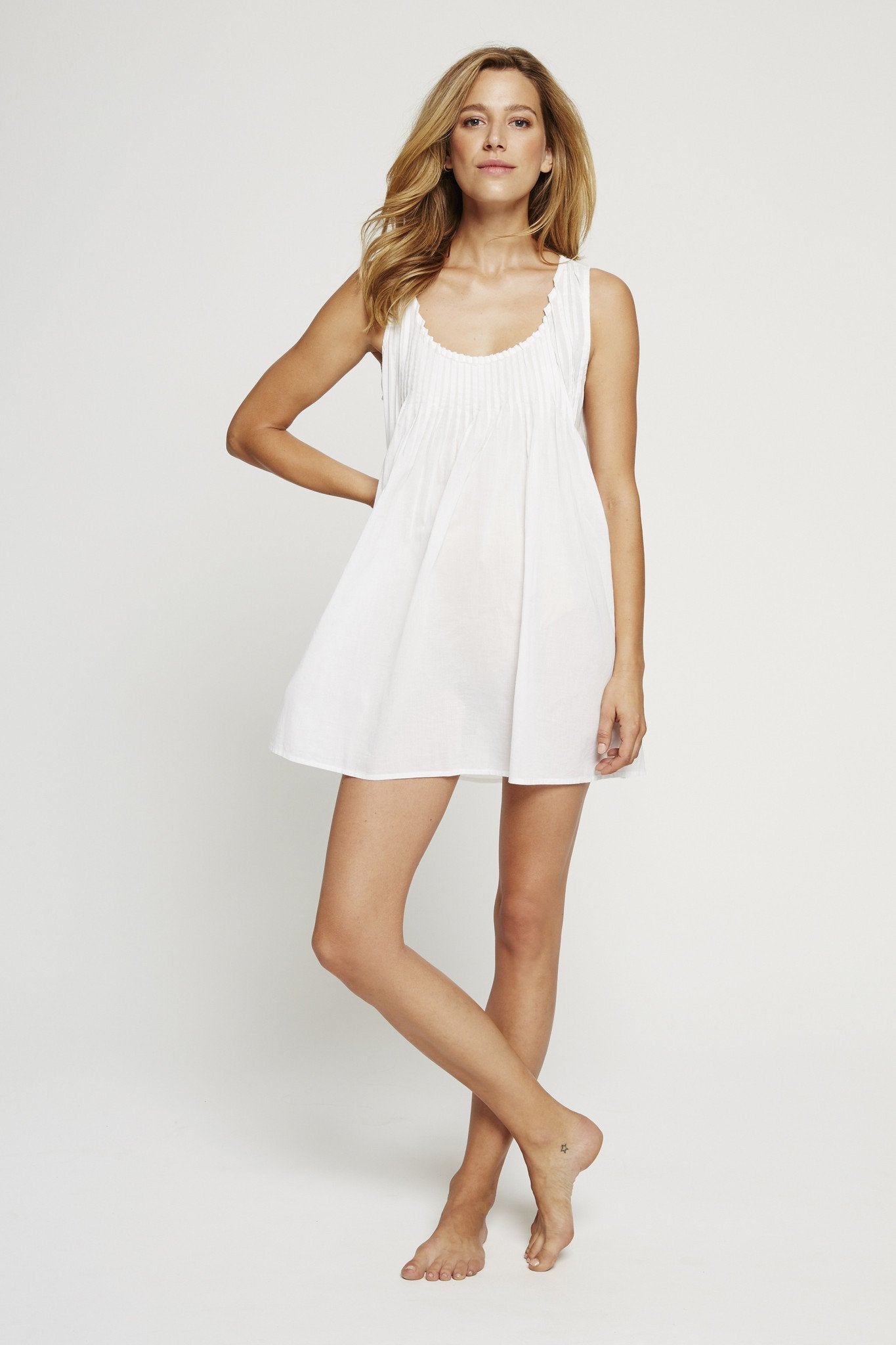 Pintuck Sleeveless Nightie - PLF Dreams. Pour les Femmes by Robin Wright & Karen Fowler