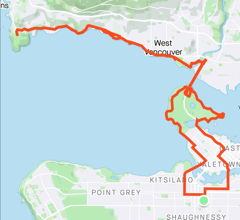 Strava map to Lighthouse Park Vancouver bike route