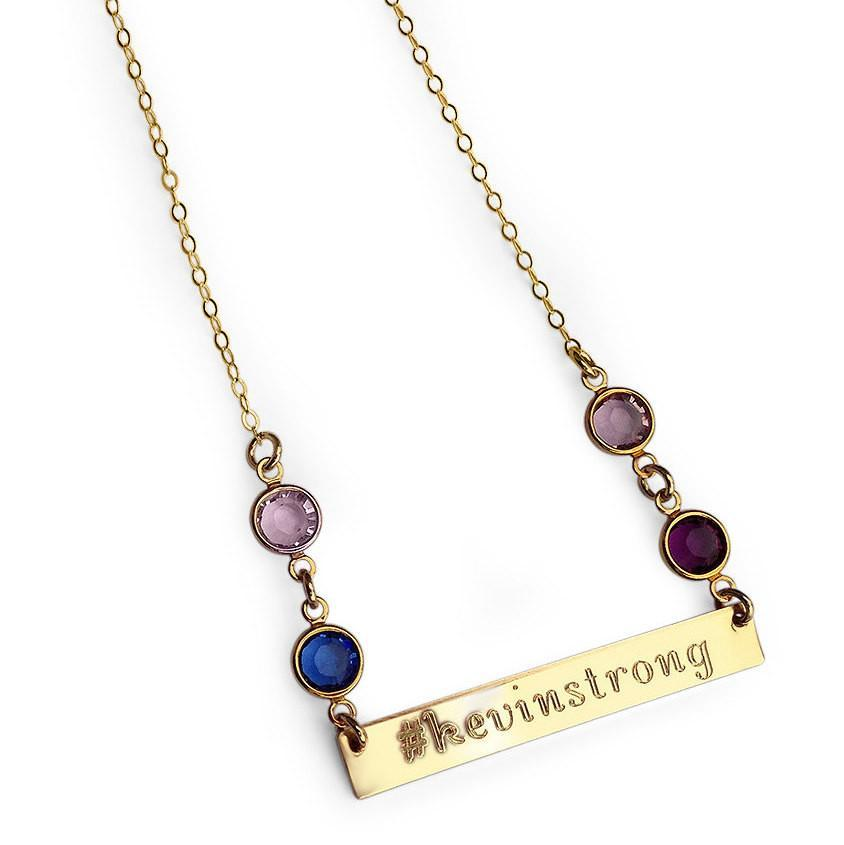 engraved gold bar necklace with swarovski birthstone added. Black Bedroom Furniture Sets. Home Design Ideas