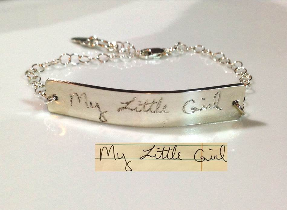 Actual Handwriting Signature Charm Bracelet Written Personalized Deep Engraved 925 Sterling Silver Memorial Pendant Toggle or Lobster Clasp