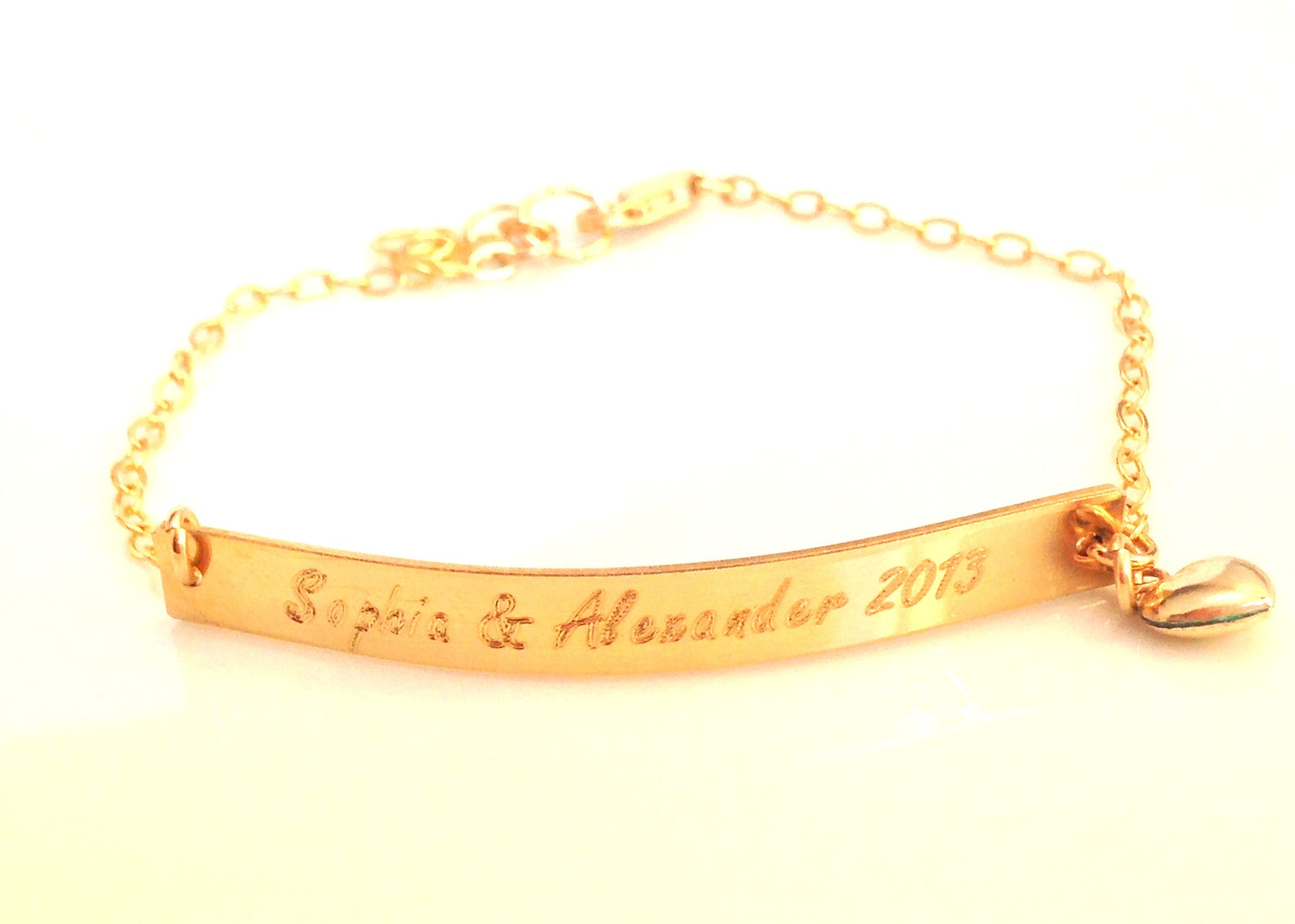 Initial or Name Gold Bar Bracelet Bracelet with heart charm Mom