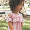 toddler pink & white striped off the shoulder dress