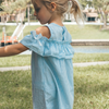 Toddler blue & white off the shoulder dress BE LOVE kids