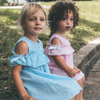 toddler off the shoulder dress blue and pink BE LOVE kids