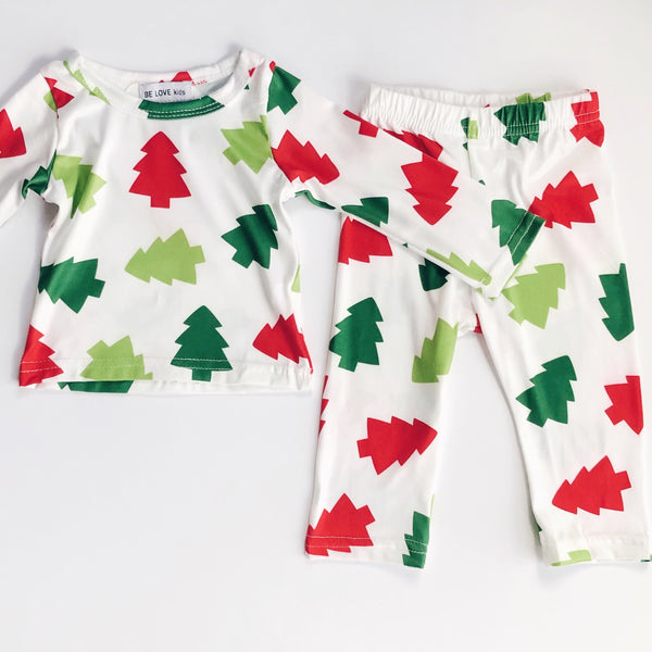 BE LOVE kids holiday family matching pajamas green & red trees