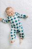 BE LOVE kids buffalo plaid green romper