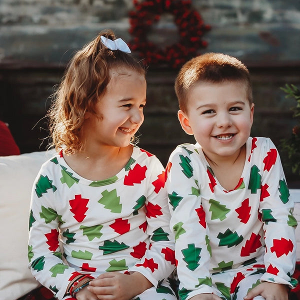 Baby & Toddler Holiday Pajamas Red & Green Trees