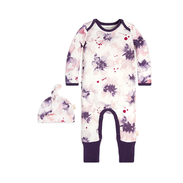 organic cotton floral purple romper + hat BE LOVE kids