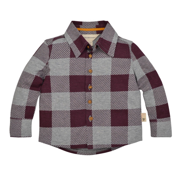 organic toddler button down shirt maroon & grey Burt's Bees Baby