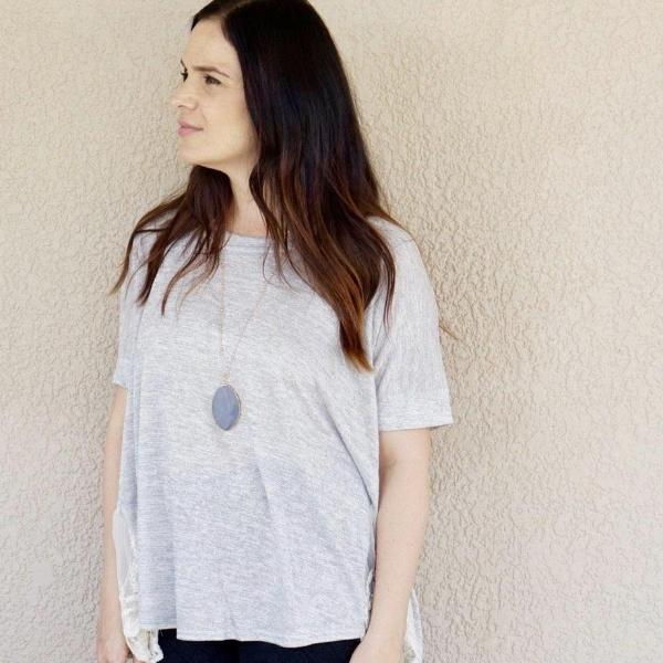 Grey Lace Top BE LOVE kids