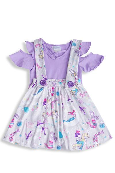 Toddler Unicorn Suspender Skirt With Purple Top BE LOVE kids
