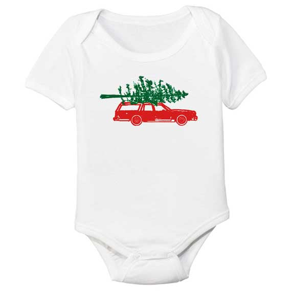 organic cotton baby bodysuit christmas tree on top of car BE LOVE kids
