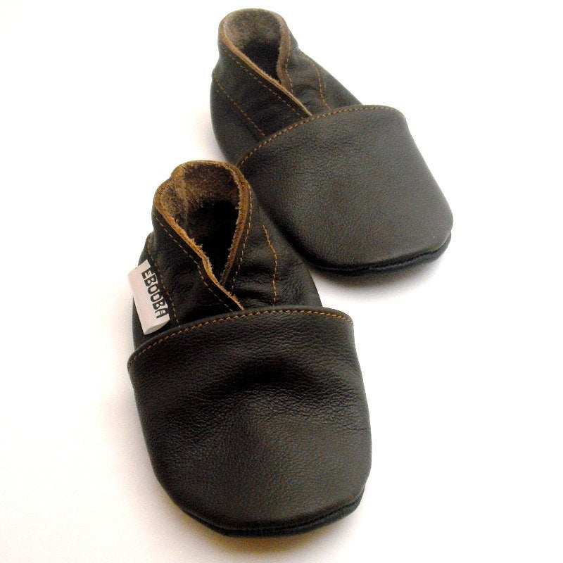 8fbe0027be6a2 Leather Baby Shoes - Dark Brown