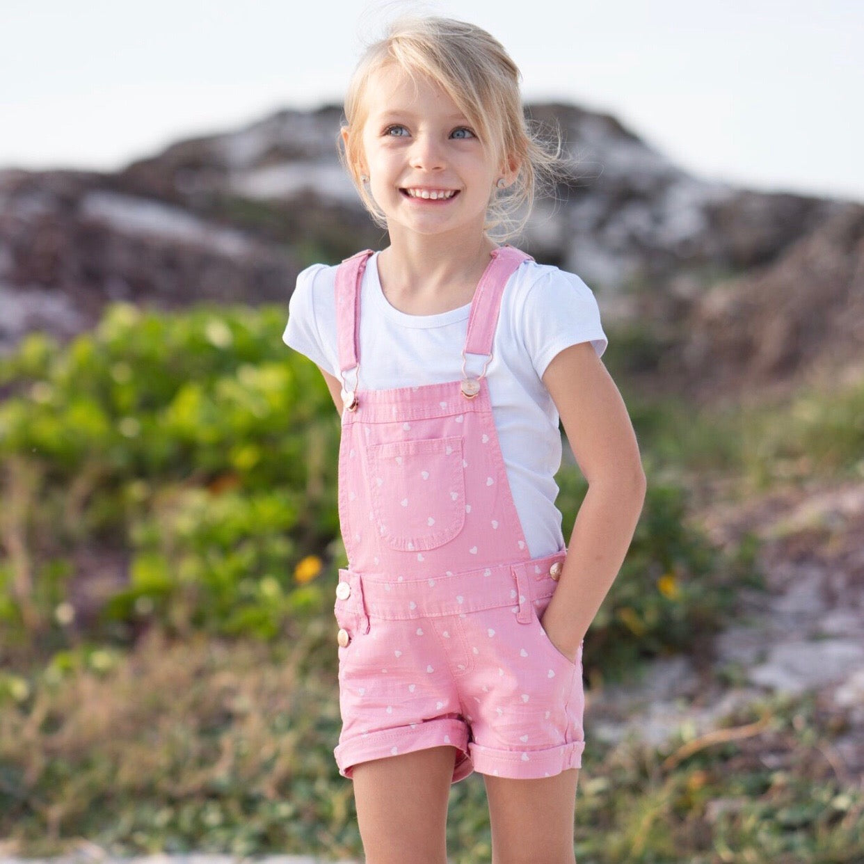 ad2aebd7b Toddler Girls Pink Heart Overalls & White Tee Set