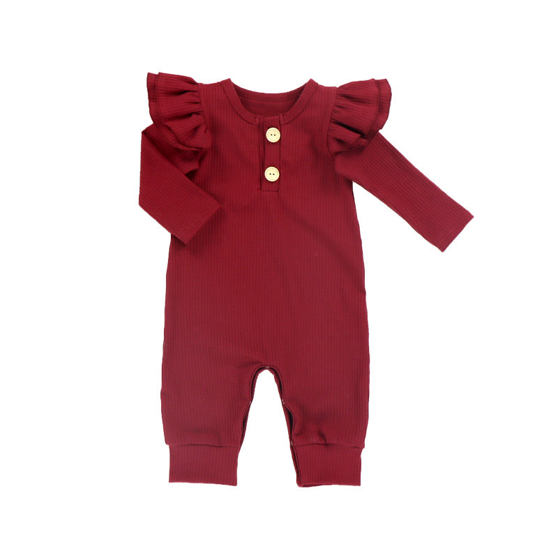 Baby Romper Wine Long Sleeve Ribbed Cotton