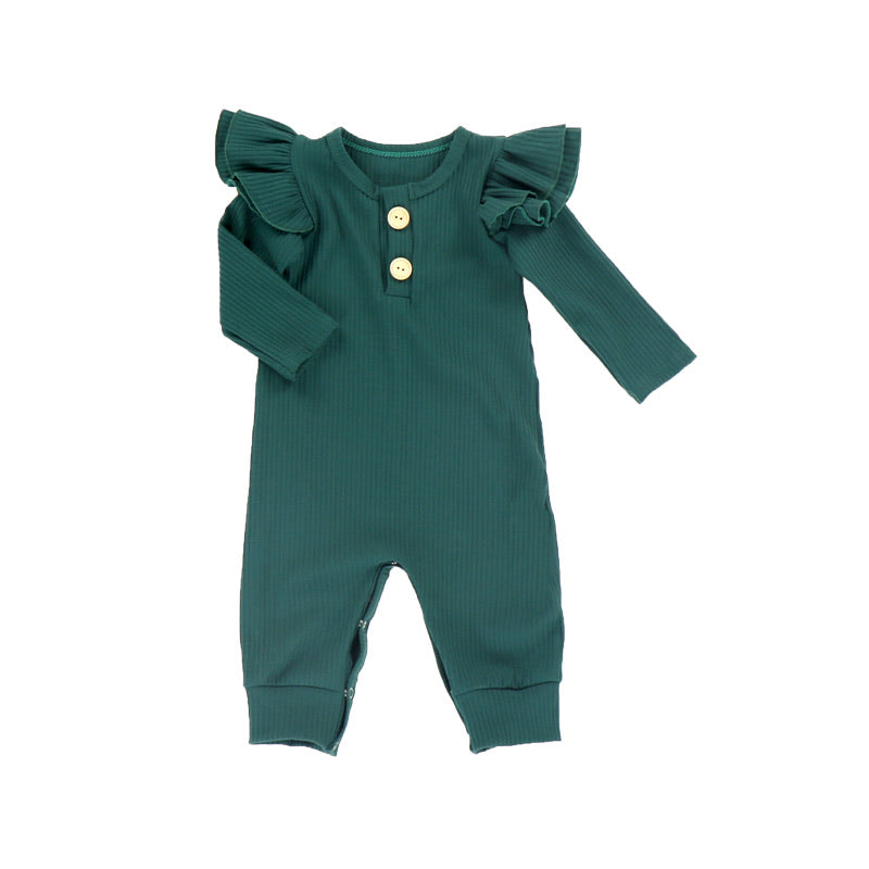 Baby Romper Pine Green Long Sleeve Ribbed Cotton