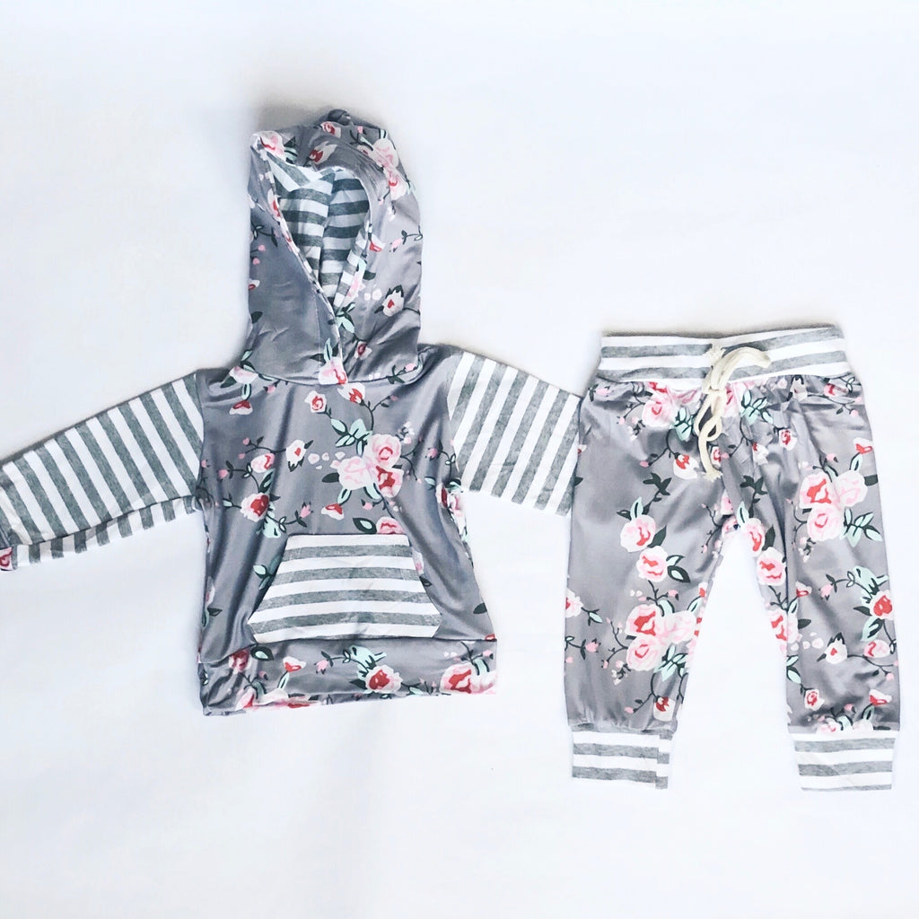 Baby & Toddler Floral Hoodie Top + Pants Set