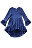 Baby Navy Blue Long Sleeve Ruffle Dress
