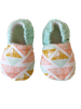 organic baby booties orange and mint triangles BE LOVE kids