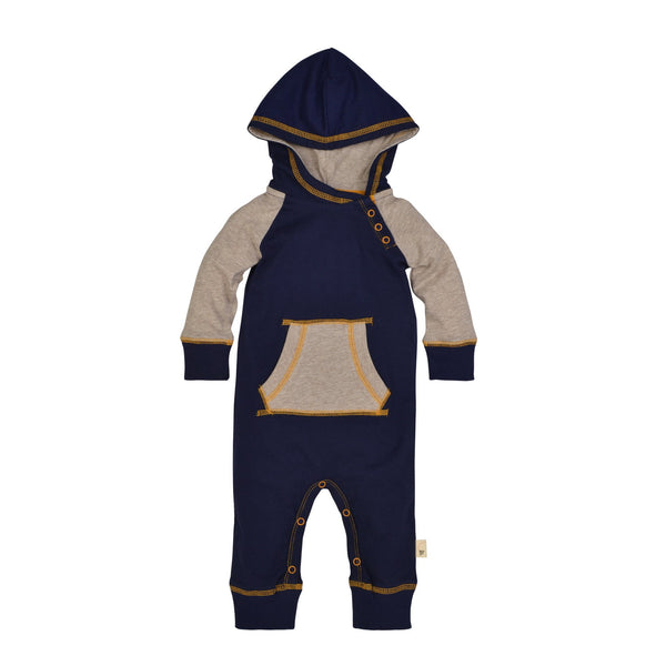 Organic Baby Romper Hooded Blue & Yellow