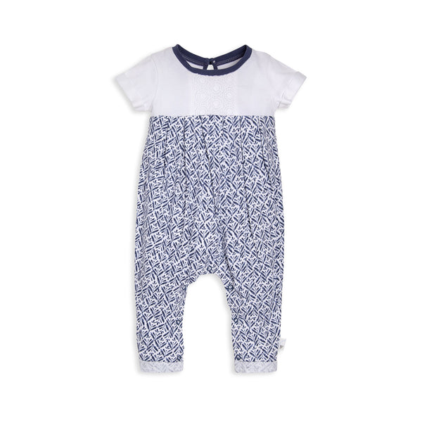 organic cotton blue geometric baby romper BE LOVE kids