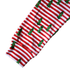 organic kids leggings holiday red & white stripes with christmas trees BE love kids