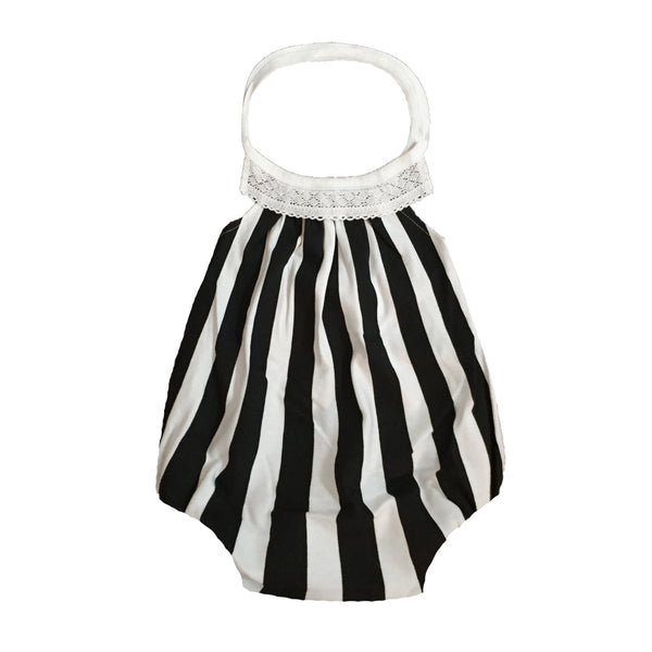 organic baby romper black & white striped
