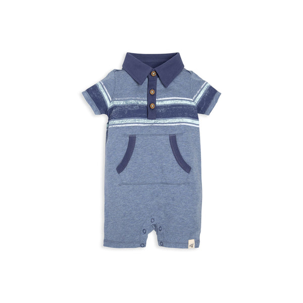 organic cotton blue baby shorts romper BE LOVE kids