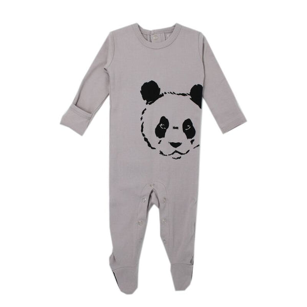 organic cotton baby sleeper grey panda BE LOVE kids