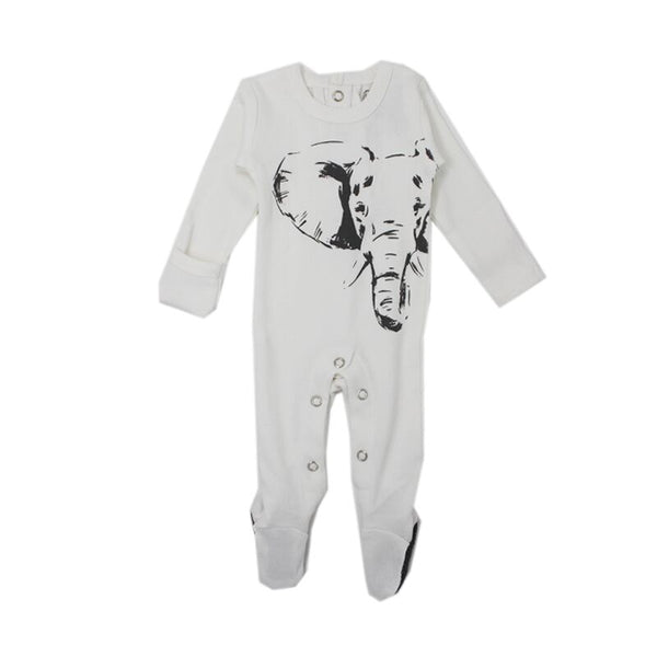 organic cotton baby sleeper white elephant BE LOVE kids