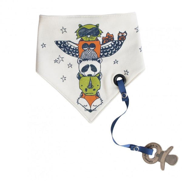 organic bandana bib white with animals on totem