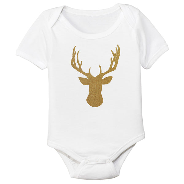 organic bodysuit holiday gold antlers BE love kids