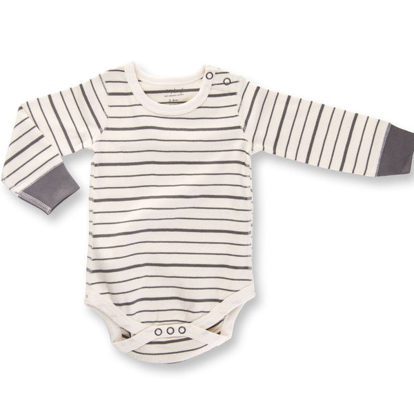 BE LOVE kids organic cotton long sleeve bodysuit grey & white stripes