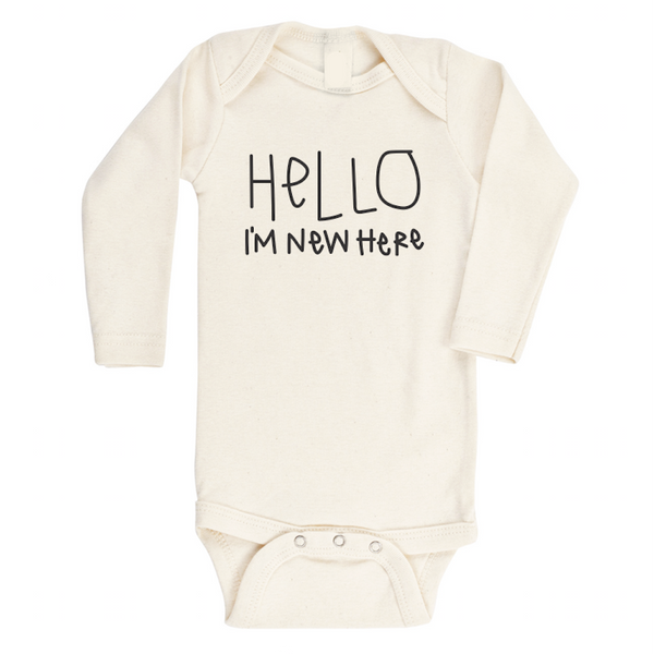 organic cotton bodysuit Hello I'm New Here BE LOVE kids