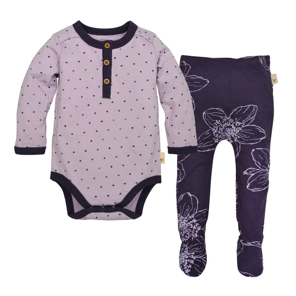 organic bodysuit and organic leggings in purple Burt's Bees Baby