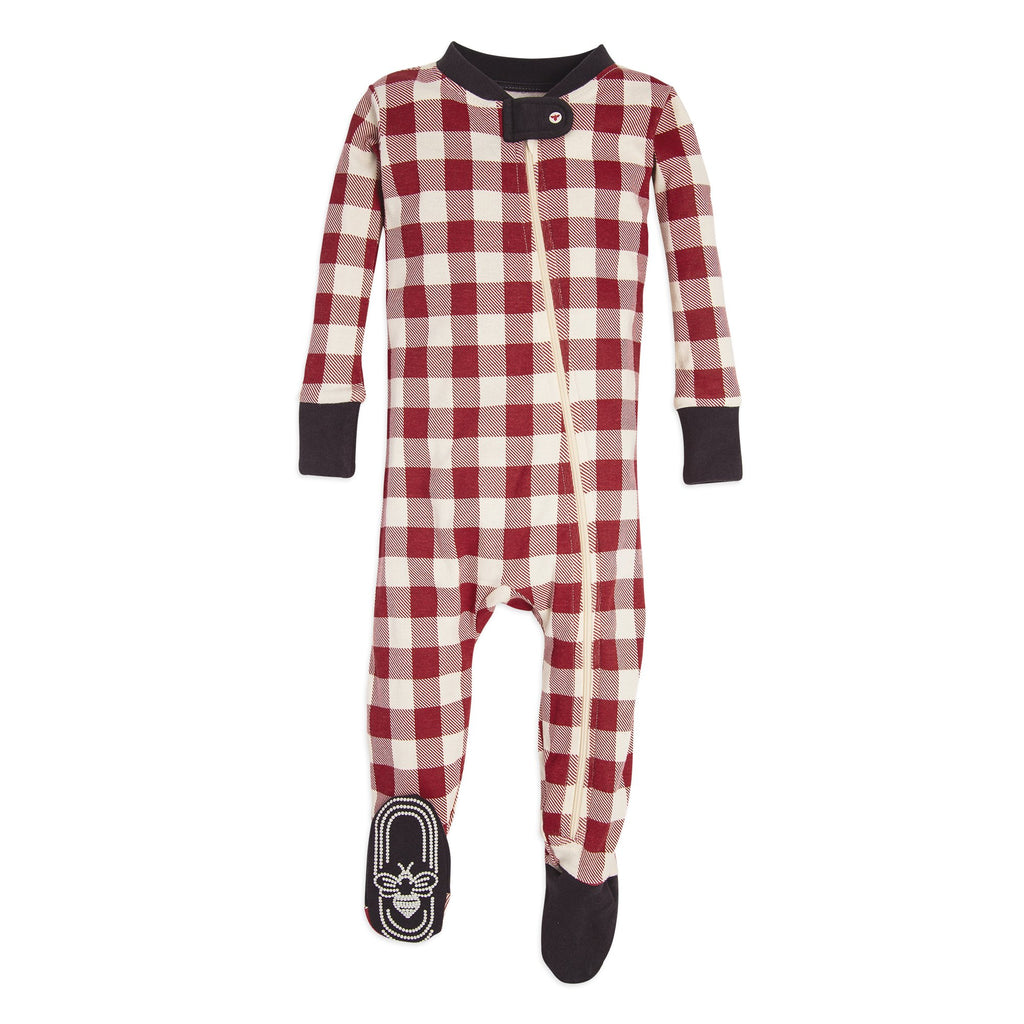 Organic Baby Sleeper Buffalo Red & White