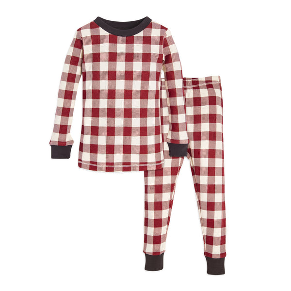 Organic Toddler Pajamas Red & White Buffalo