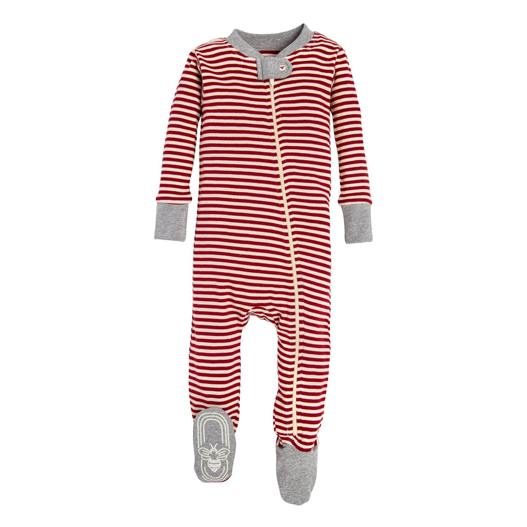 BE LOVE Kids organic baby sleeper red & white stripes