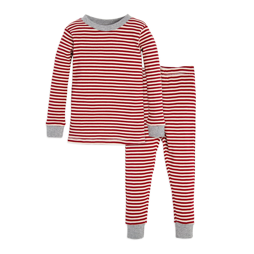 Organic Toddler Pajamas Red & White Candy Cane Stripes