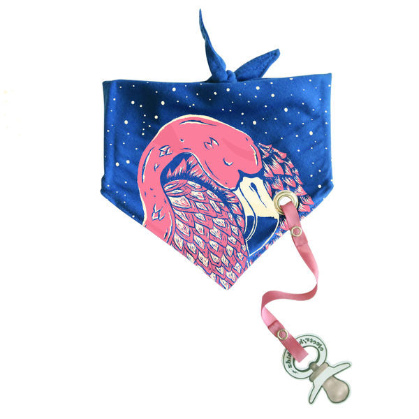 organic cotton baby bandana bib pink flamingo print BE LOVE kids